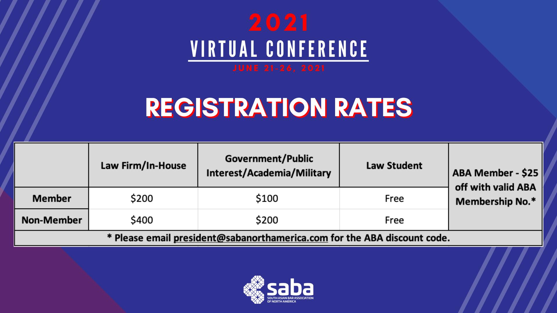 Updated Registration Rates